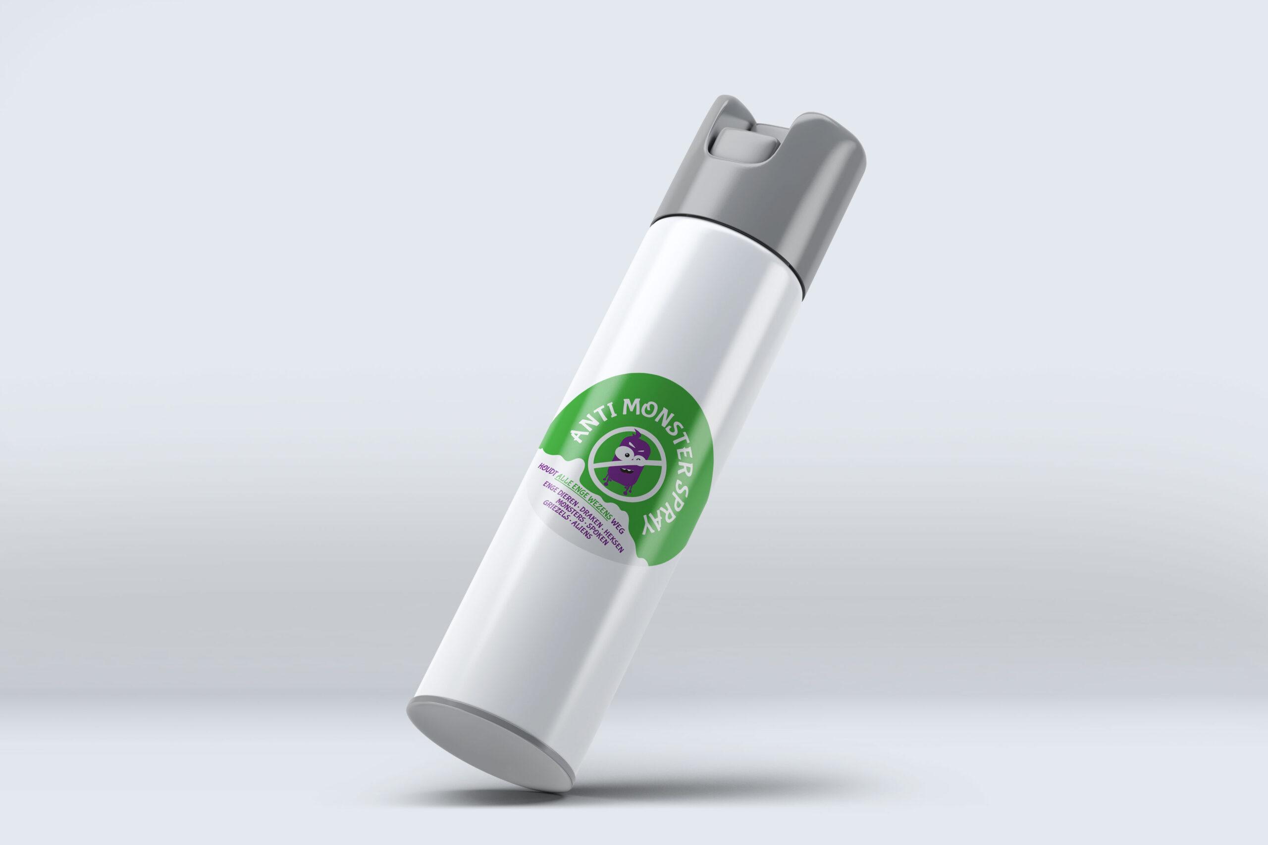 Anti monster spray label op spuitbus